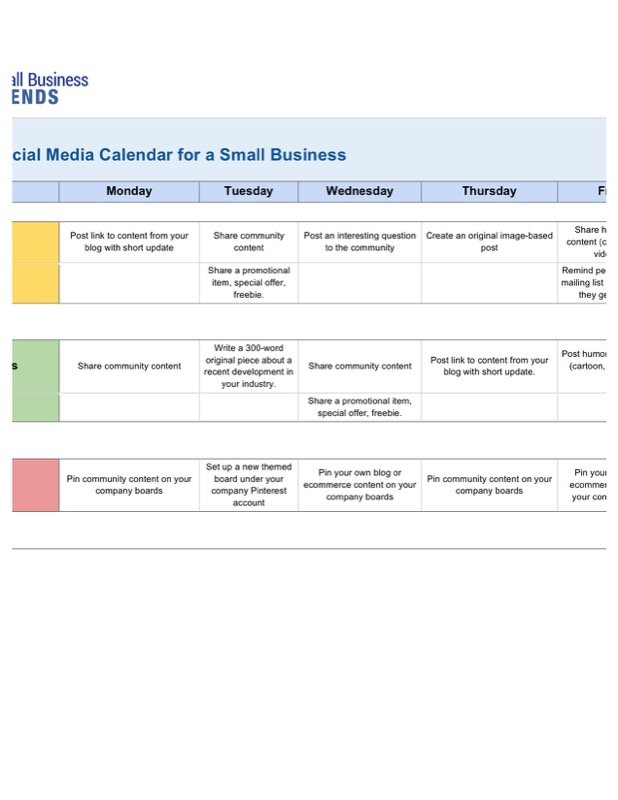 Social Media Posting Schedule Template Free from www.calendarstemplate.net