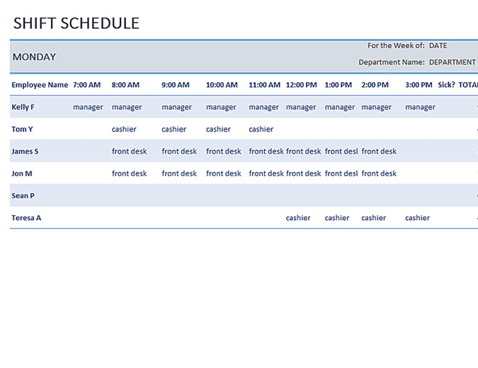 Download Weekly Employee Shift Schedule For Free Calendarstemplate
